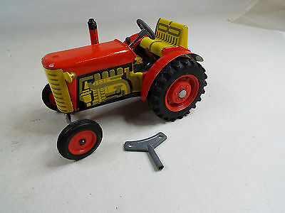 Vintage ZETOR Metal Tin WIND UP TOY TRACTOR with key Parts or repair