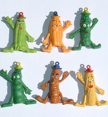VINTAGE CUTIE VEGETABLE 70s PENCIL TOPPERS SET OF 6 MADE HONG KONG NEW FROM BOX
