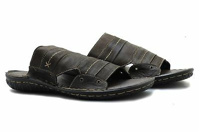 Mens Real Leather Dark Brown Slip ons Beach Sandals Slippers Open Toe UK 6 - 11