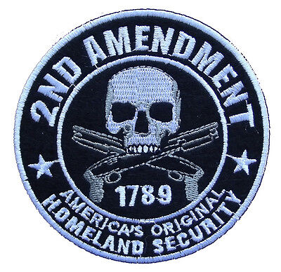 "2nd AMENDMENT Americas Homeland Security Embroidered 4"" Patch Biker Gun Tactical"
