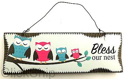 """Wooden Sign Hanging Decor 18cm 4 Owls """"Bless Our Nest"""" C-1010"""