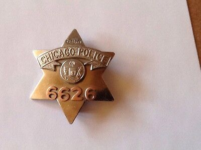 Early Chicago Police Pie Plate Badge 6626 Retired