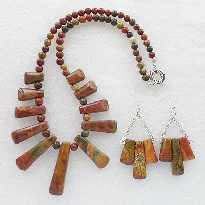 LL0997 Beautiful Picasso Jasper Necklace & Earring Set