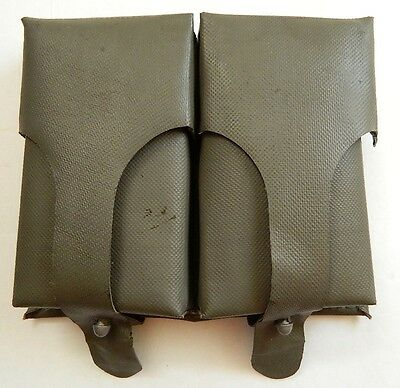 Vintage German Military Dual Ammo Magazine Pouch Vinyl/Rubber, & Leather Inside