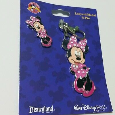Disney Minnie Mouse Pink Pin Lanyard Metal Trading Pins Theme Parks
