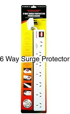 New 6 Way Surge Protector Power Board - 6 Outlets With Master On / Off Switch