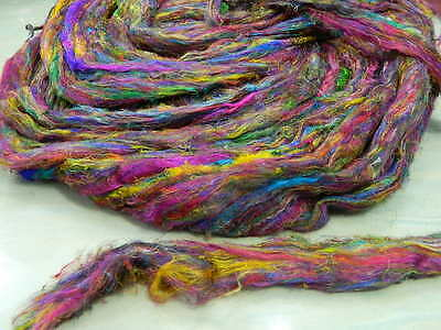 Recycled Mulberry Silk Fiber Multicolor Carded in Sliver Form 100 Grms FREESHIP