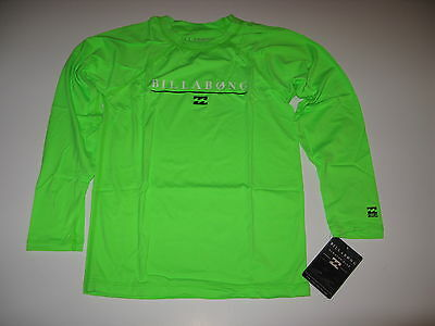 Billabong Big Boys 12 Neon Lime Green Long Sleeve Rash Guard Shirt All Day NWT