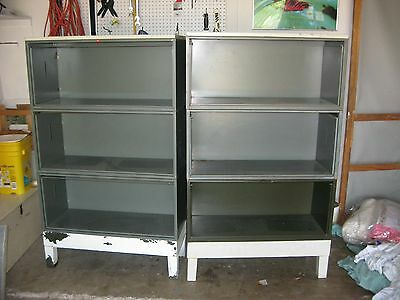 Vintage Industrial Metal Stacking Barrister bookcase