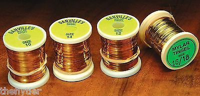 FLAT MYLAR TINSEL SPOOLS in GOLD/SILVER -- fine sm med or lrg fly tying