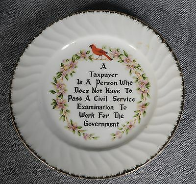 "Taxpayer Civil Service Government 8"" China Plate Red Cardinal Swirl Gold Trim"