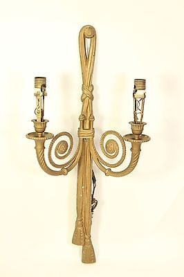 Antique French Regency Louis XVI Gilt Bronze Ribbon Wall Sconce Light Fixture