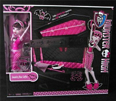 NEW Monster High Draculaura Doll With Jewelry Box Coffin Set Free Shipping