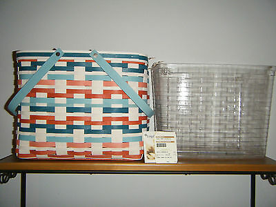 RARE LONGABERGER CORAL REEF ON THE GO BASKET & PROTECTOR NEW