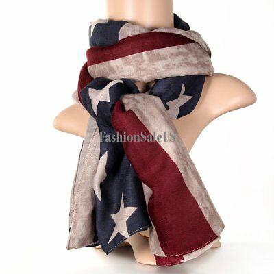 Vintage American Flag Star and Straps Scarf Fashion Bandanna Long Wrap