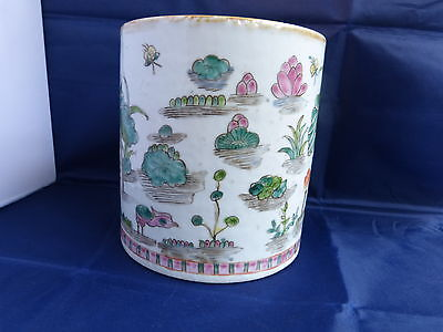 Antique Ch'ien Lung Period Chinese Famille Verte Brush Pot