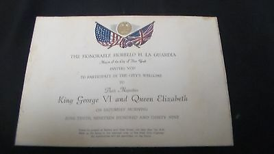 King George VI & Queen Elizabeth New York Invititation June 10, 1939 Rare