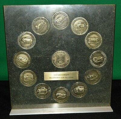 1973 Chrysler Plymouth MILLIONAIRE'S CLUB Collection Coin Lucite Plaque