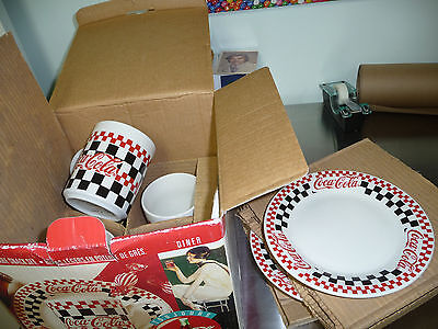 COCA COLA 8 PIECE GIBSON STONEWEAR SNACK SET PLATES MUGS CUPS CHECKERED