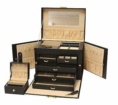Luxurious Black Leather Jewelry Ring Earring Travel Box Case with Mirror & Lock