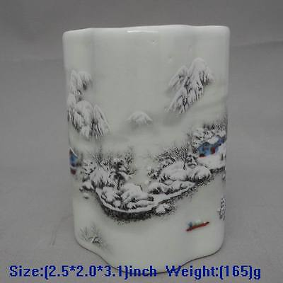 COLLECTABLE CHINESE HANDWORK PORCELAIN PAINTING SNOW HOUSE USEABLE BRUSH POT
