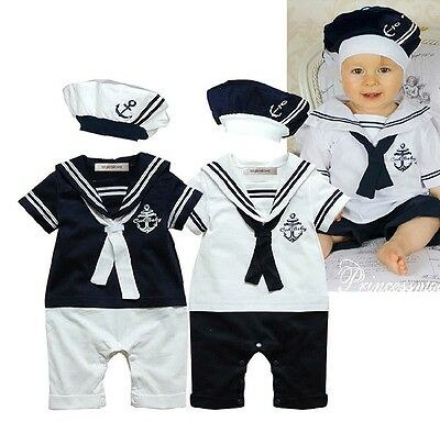 6-24M Baby Boy Navy Sailor Photo Props Costume Romper Onesie and Hat 2-pc Outfit