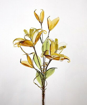 Yellow Lily Flowers Arrangement Glass Ornament Amazing Valentine's Day Gift Idea