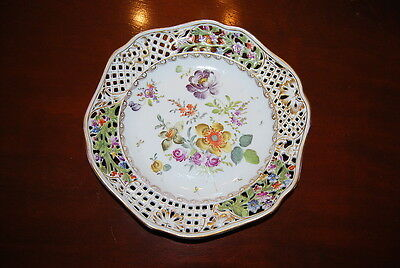 CARL THIEME SAXONIA HP DRESDEN FLOWERS SCALLOPED RETICULATED CABINET PLATE #2