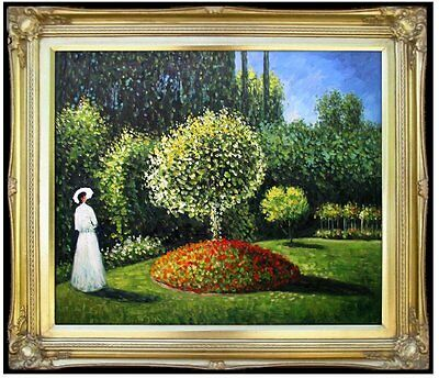 Framed Hand Painted Oil Painting Repro Claude Monet Jeanne in the Garden 20x24in
