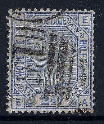 1881 GB SG157 QV 2½d BLUE PLATE 21 USED LETTERS 'EA'