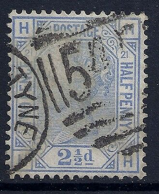 1881 GB SG157 QV 2½d BLUE PLATE 21 USED LETTERS 'HH'