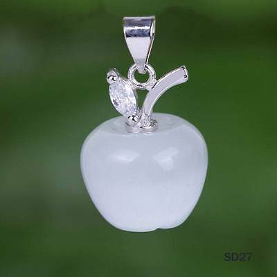 Charms White Opal /Cat Eye   925 Sterling Silver Apple Necklace Pendant