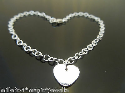 """3mm Sterling Silver Bracelet Or Ankle Chain Anklet Heart Charm 7"""" 8"""" 9"""" 10"""" 11"""""""