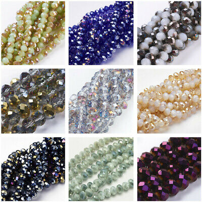 1PC Electroplate Glass Bead Strand Faceted Abacus Hole 72pcs Half Plated Finding