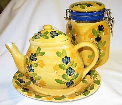 TEAPOT w UNDERPLATE & CANISTER CALIFORNIA PANTRY Bright Yellow TEA POT NEW
