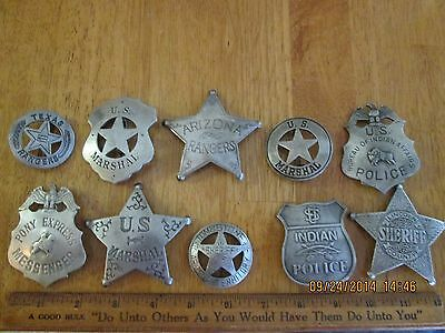 OLD WEST STYLE MARSHAL/SHERIFF BADGES OBSOLETE LOT/10   ANTIQUE SILVER FINISH