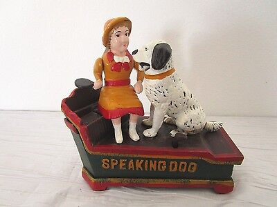 Cast Iron Bank - Speaking Dog - Reproduction - Nice