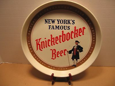 "Vintage Beer/Bar Metal Serving Tray Advertising ""Knickerbocher Beer"" USA"