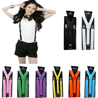 Unisex Men Wemen Adjustable Trousers Braces Suspenders Elastic Clip Straps