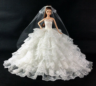 high quality children GIFT hot white weddings dress for barbies Doll a1000
