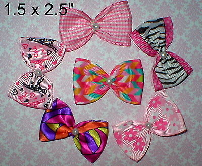 "Val's USA Dog Bows Get all 6 2.5"" Girls popular Pink Design  Shih-tzu yorkie ect"