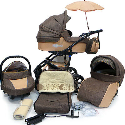 Baby Pram Stroller Car seat - Pushchair - Buggy Umbrella Footmuff swivel wheels