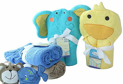 Superior Quality 350GSM 100% cotton Baby Hooded Towel in 4 Cute Animal designs