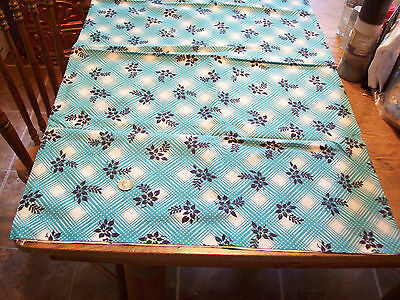 2 Vintage Feed Sack Feedsack Quilt Fabric Cotton Turquoise, Black Flowers 39X46