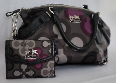 Coach Madison Clover Sophia Grey/Purple Satchel 15946 With Matching Wallet
