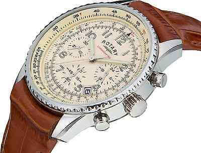 Rotary Men's GS03447/08 Chronospeed Chronograph Brown Leather Strap Watch - NEW