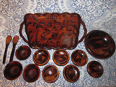 13 PC HAITI WOODEN HAND CARVED SALAD BOWL SET W TRAY FORK SPOON FISH AND FLORAL