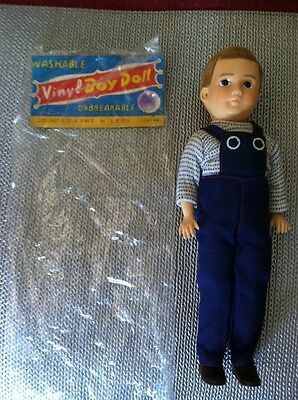 Vintage 1950s/60's  Boy Doll Fuzzy Hair Hand Painted Face Org Clothes