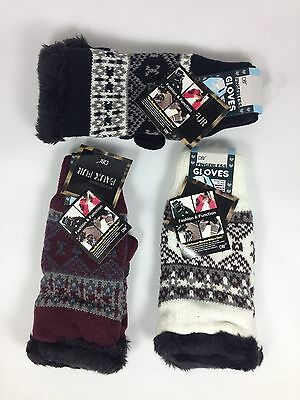 Ladies Winter Chunky Super Warm Fully Lined Knit Fingerless Half Open Gloves NWT