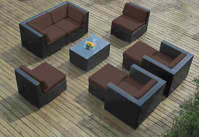 Ohana Outdoor Patio Wicker Furniture 9pc  Seating  Sectional with Brown Cushion